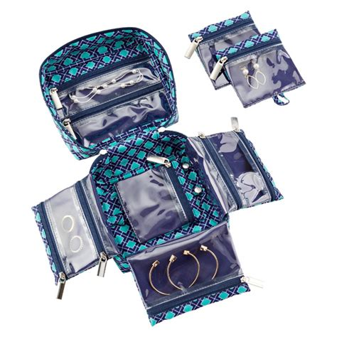 how to make a jewelry bag navy aqua tile in bag large jewelry organizer the
