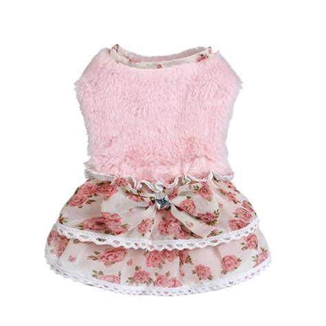 Princess Lace Sweater pet puppy warm princess lace floral skirt dress