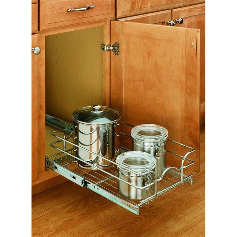 kitchen cabinet organizers home depot rev a shelf 7 in h x 11 75 in w x 22 in d base cabinet pull out chrome wire basket 5wb1 1222
