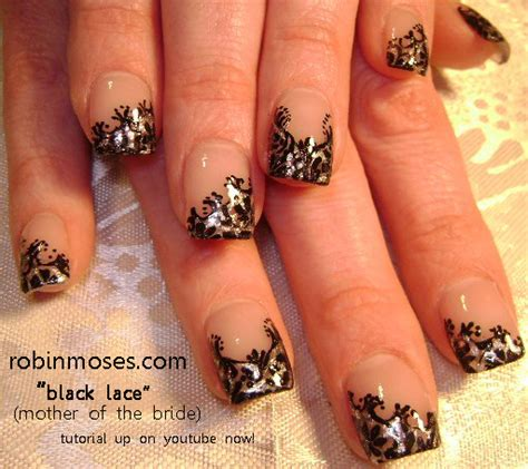 Simple Lace Wedding Nails nail design quot black lace nail quot quot beautiful wedding