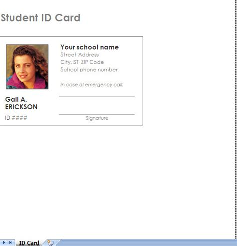 College Id Templates For Id Cards by Student Id Card Template Photo Identification Card