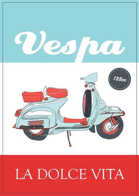 Vespa Vintage Poster vintage italian posters illustrator italian posters italian vespa poster