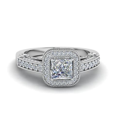 princess cut antique square halo engagement ring