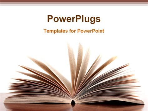powerpoint template opened pages of book on desk with