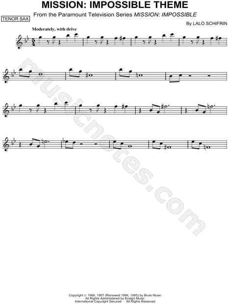 theme music of mission impossible lalo schifrin quot mission impossible theme quot sheet music