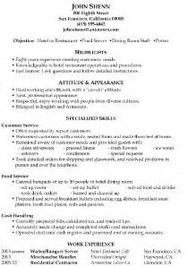 Restaurant Server Skills Resume Exles by Resume Sle Food Server Dining Room Staff Porter