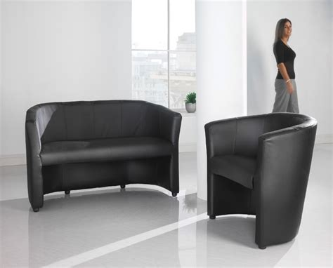 Office Furniture York Uk Black Leather Faced Sofa Ideal For Receptions