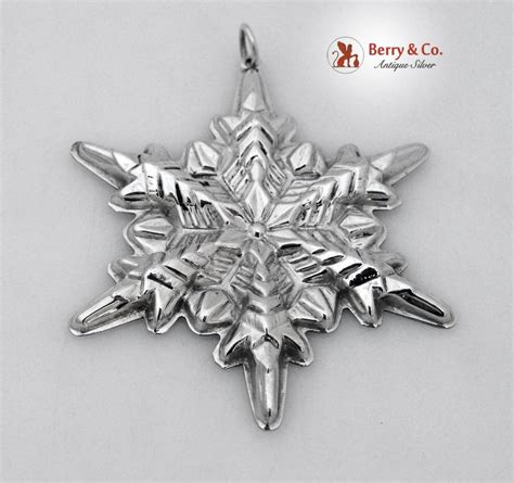 snowflake christmas ornament gorham sterling silver 1972