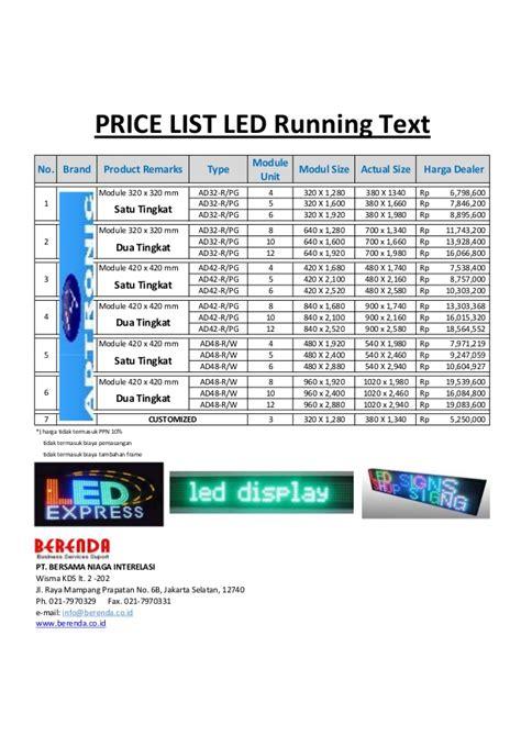 Lu Led Running Text price list led running text berenda