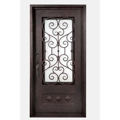 Exterior Wrought Iron Doors Iron Doors Unlimited 40 In X 98 In Vita Francese Classic 3 4 Lite Painted Antique Copper