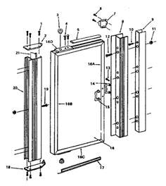 replacement shower door parts size