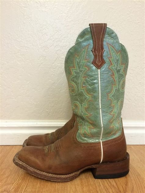 green cowboy boots ariat latigo brown and mint green leather square toe