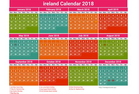 Buy Calendars Ireland 2018 Bank Holidays Ireland Calendar