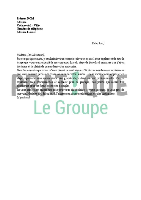 Exemple Lettre De Remerciement Fin De Stage Remerciement De Stage 3eme