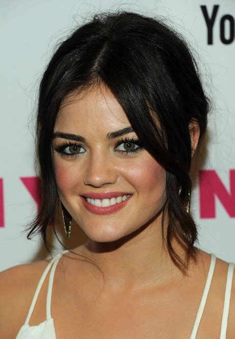 center part with bangs hair lucy hale black loose bun updo with center part bangs