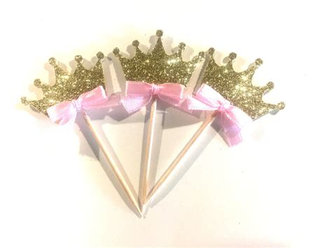 Topper Crown Glitter crown cupcake toppers glitter crowns princess cupcake