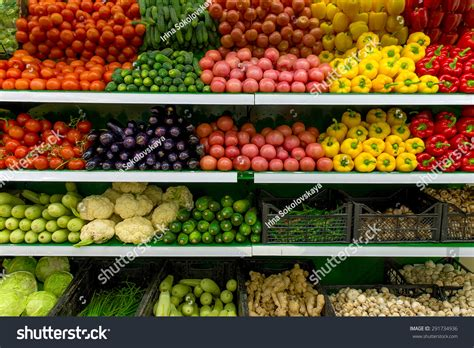Shelf Of Fruit by Fresh Organic Vegetables Fruits On Shelf Stock Photo