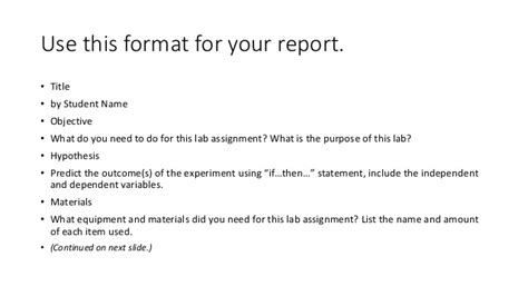 layout of a science experiment report using the scientific method