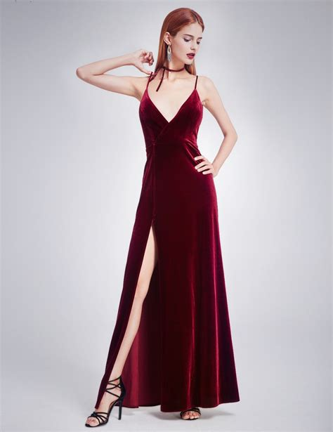 Ruffles Velvet Maxi Dress Formal velvet evening dress with thigh high slit