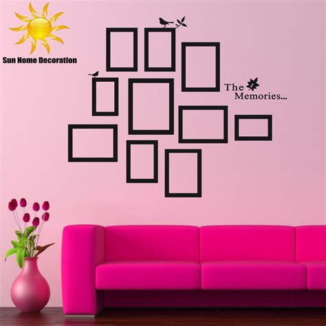 living room decals aliexpress buy diy photo frame black removable vinyl wall stickers decals quote living