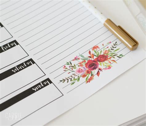 printable meal planner by carrie lindsey pretty floral meal planning printable carrie elle