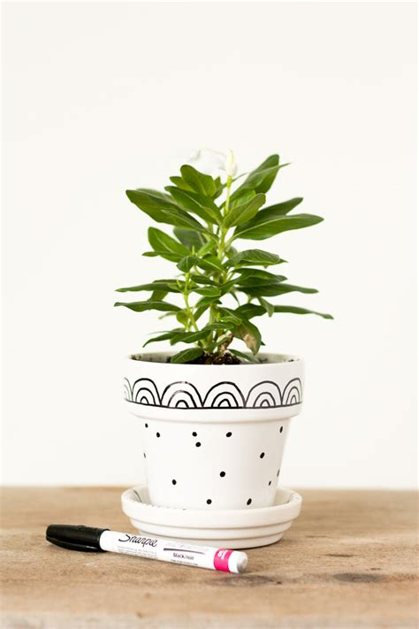 modern mini painted plant pots graphic hand painted flower pots lulu the baker