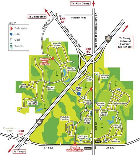 map of reunion florida reunion resort tropical escape vacation rentals