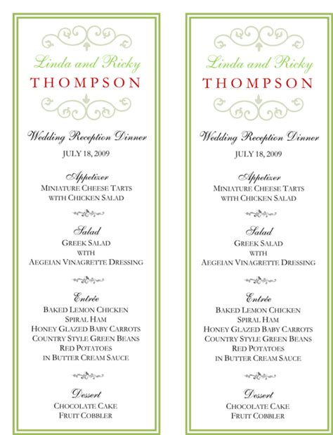 Wedding Menu Cards Reception Menu Template