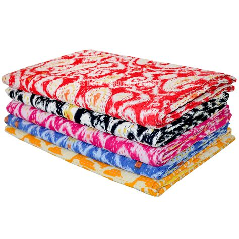 Cheap Quilted Throws by Set Of 3 Wholesale Lot Assorted Kantha Quilt