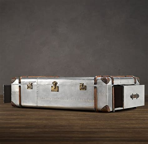 polished aluminum trunk coffee table from restoration