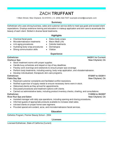 aesthetician resume sles resume template for accounting objective and with regard