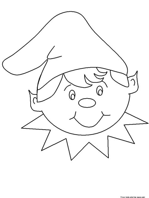 elf hat coloring template coloring pages