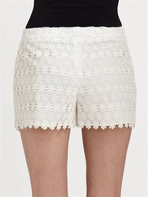 Shorts 40709 Blue Lace Side S elie tahari patrice embroidered lace shorts in white lyst