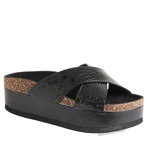 womens slip on chunky footbed wedge flatform platform sandals shoes size ebay