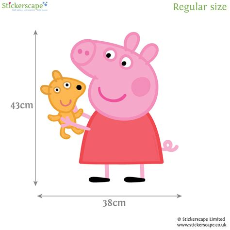 peppa pig with teddy wall sticker stickerscape uk