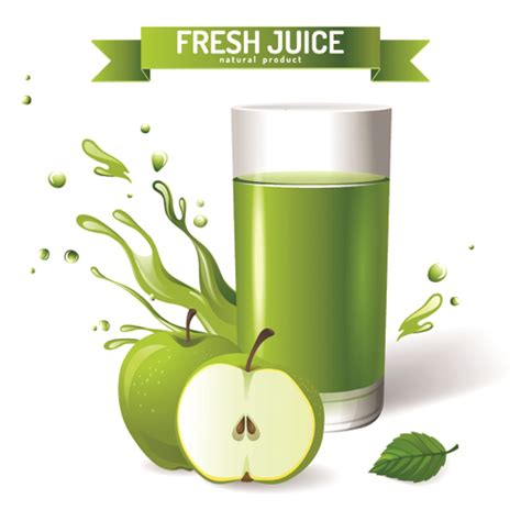 fresh juice with ribbon design graphic vector 01 vector