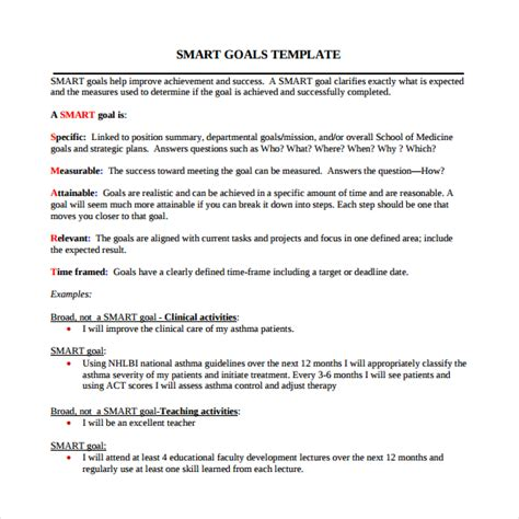 template for smart goals smart goals template 15 free documents in pdf