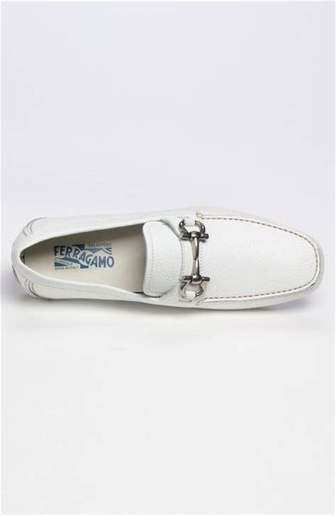 ferragamo parigi driving shoe in white for lyst