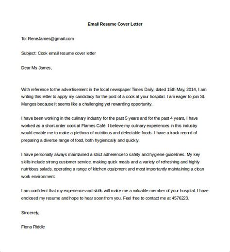 mail cover letter sle email application cover letter