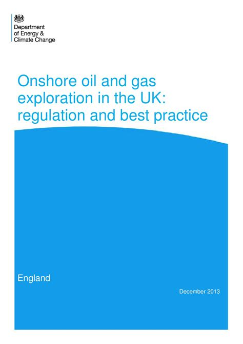And Gas Mba Uk by Regulatory Roadmap Onshore And Gas Exploration In The