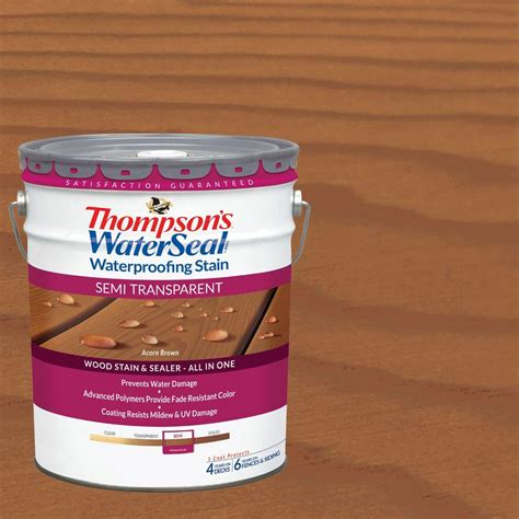 thompson water seal stain colors thompson s waterseal 5 gal semi transparent acorn brown