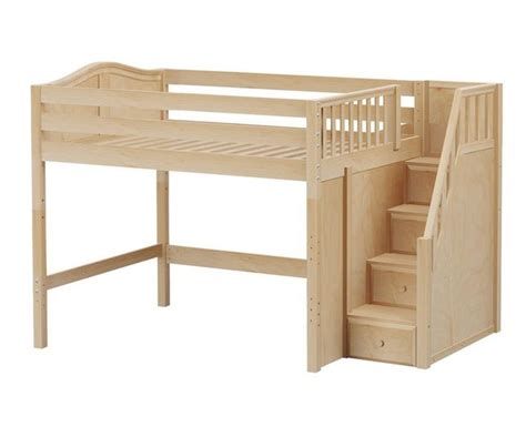 full size bunk beds with stairs hit full size mid loft bed with stairs natural by maxtrix