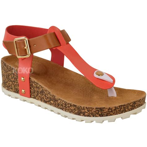 comfort wedges new ladies womens wedge comfort sandals cushioned flip