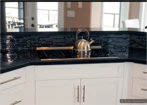 Black Glass Backsplash Kitchen by Black Galaxy Glass Mixed Backsplash Tile