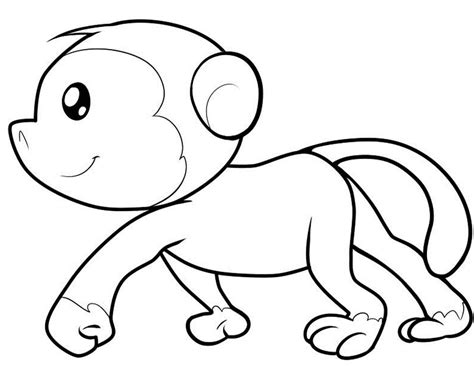 easy monkey coloring page cute animals coloring pages coloring home