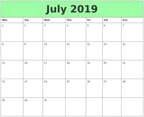printable calendar 2019 july 2019 printable calendars