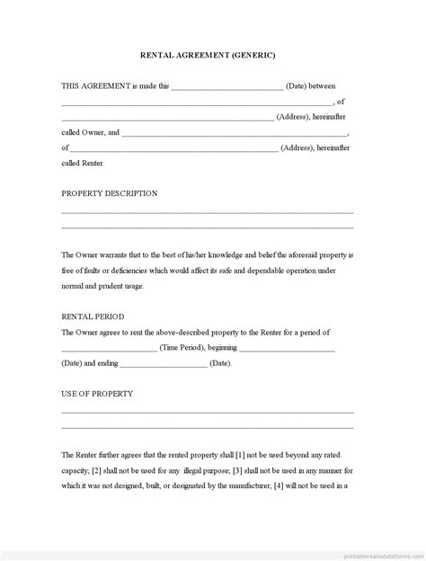 generic rental agreement template generic template rental agreement forms free printable