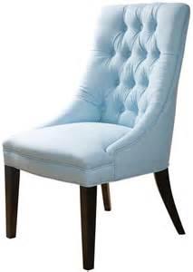 Light blue tufted side seat