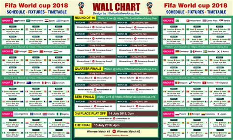 World Cup Table 2018 Printable Fifa World Cup 2018 Fixtures Schedule