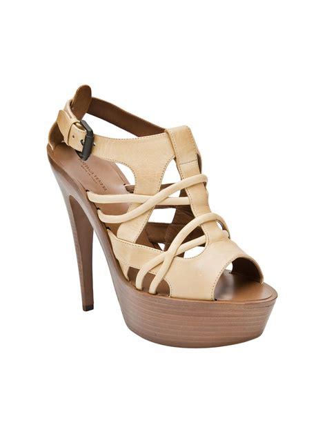 yellow strappy sandals bottega veneta strappy wooden sandal in green yellow lyst